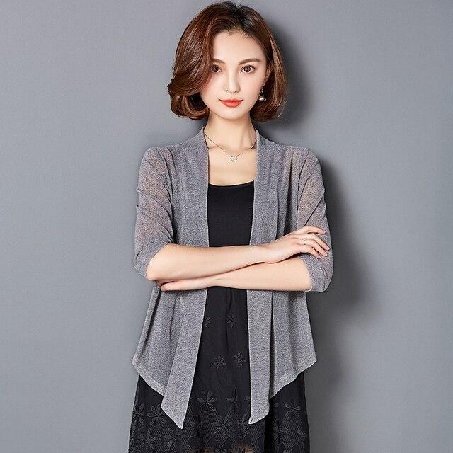 MLXSLKY Summer women's short cardigan female seven sleeve plus size thin coat irregular hem womens chiffon cardigan