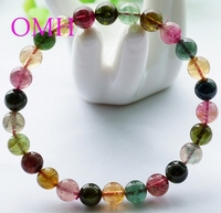 OMH wholesale 7 8mm IFull of vitality Colorful real Pure natural round Top level tourmaline beads bracelet PJ400 EMS free