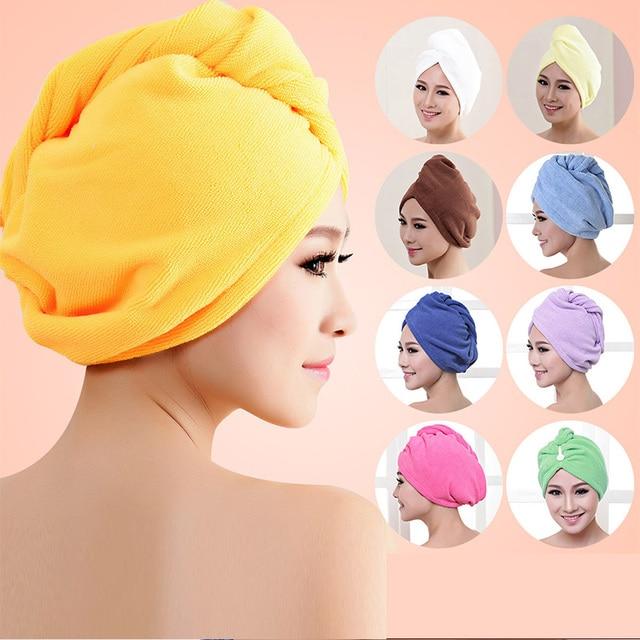 Women Bathroom Super Absorbent Quick-drying Microfiber Bath Towel Hair Dry Cap Salon Towel