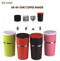 Tudo em um portátil xícara de café manual Moedor de café máquina de café por gotejamento casa uso de Viagem uso Cafeteira multifunções portátil
