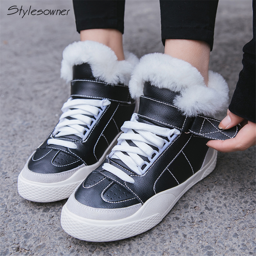 цена на Stylesowner Women Fur Winter Sneaker Boots Plush Warm Casual High Top Shoes Lace Up Winter Fashion Sneaker Shoes Platform Wedges