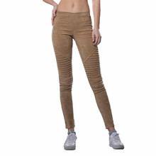 Neeco 2017 spring trousers women fold MOTO Middle waist retro elastic stretchy slim faux suede leggings pants