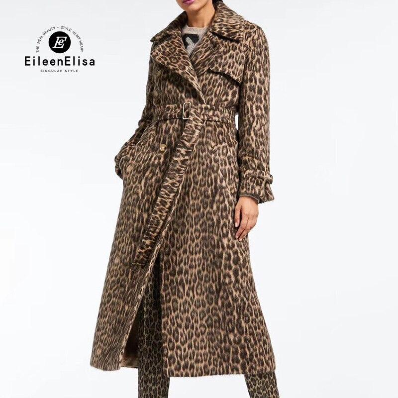 2018 осень зима пальто женское леопардовое 100% Шерсть альпака смесь пальто длинный Тренч пальто Верхняя одежда шерстяное пальто для женщин
