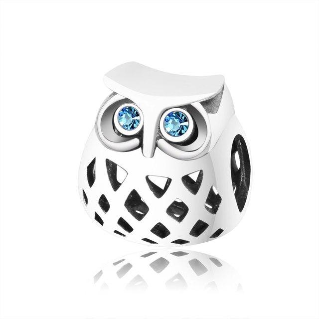 82c676ab1 2019 New Design 925 Sterling Silver Owl Charms Beads With CZ Fits Original Pandora  Charm Bracelet