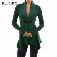 BEFORW Women Fashion Top Casual Patchwork Asymmetrical Long Cardigan Sweater Women Long Sleeve Cardigan Sweater Outerwear