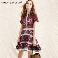 Vintage Runway Designer High Quality Dress 2017 Women S Luxurious Hollow Out Embroidery Dress Vestidos De