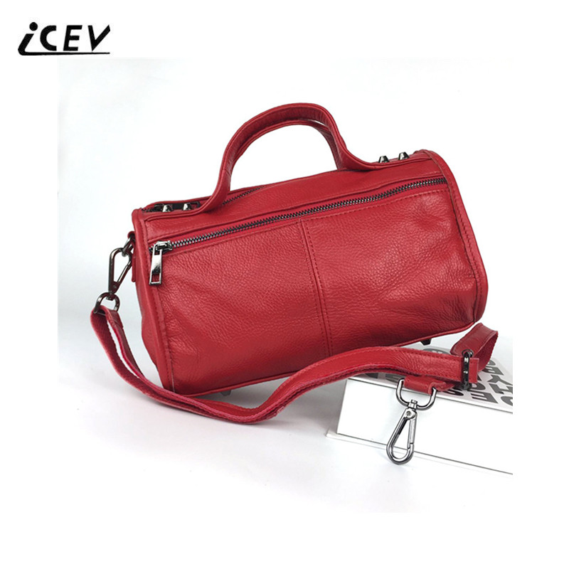 ICEV Hot Sale Fashion 100% Cow Leather Women Leather Handbags High Quality Genuine Leather Handbags Top Handle Bags Ladies Totes icev new brands simple classic female cow leather designer handbags high quality genuine leather handbags women leather handbags