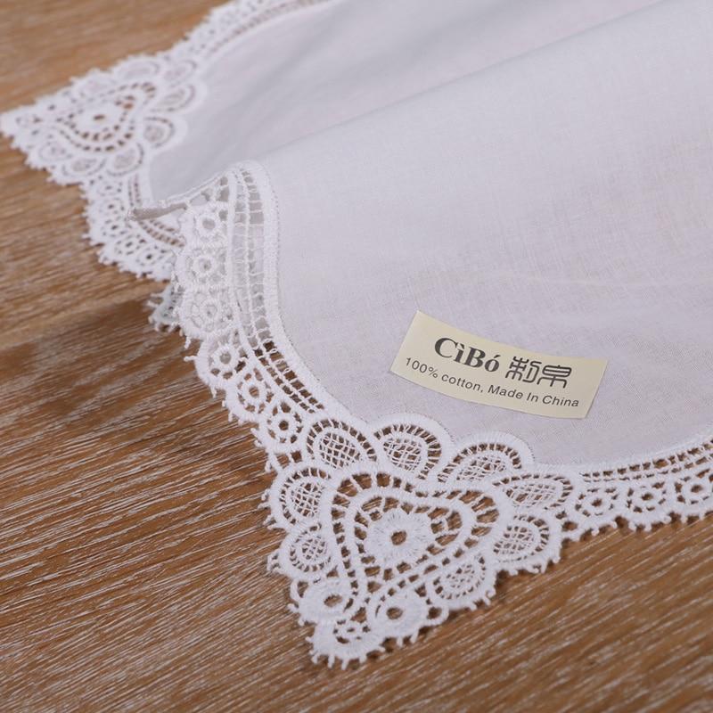 White premium cotton lace handkerchiefs crochet hankies for women/ladies wedding handkerchief