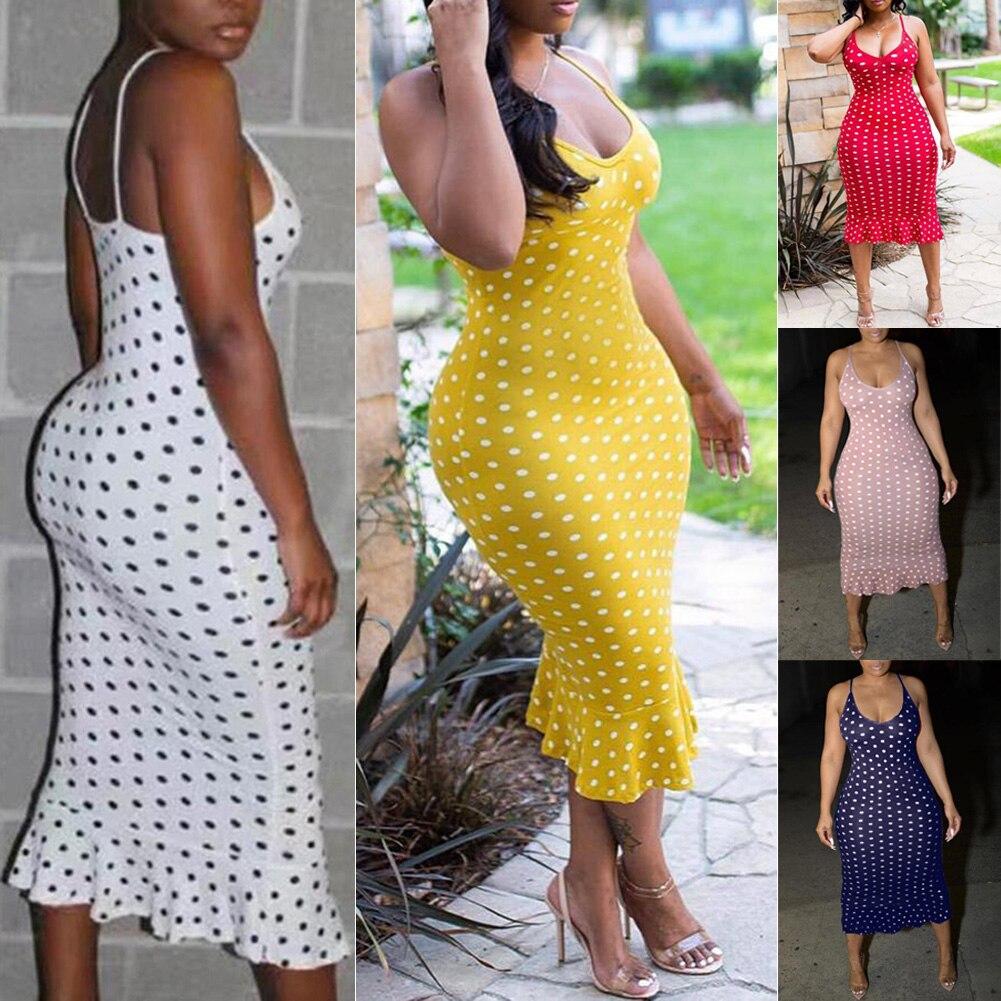 HTB1IqYQTYvpK1RjSZFqq6AXUVXaf Vintage Women's Polka Dot Sling Sleeveless Backless V-neck High-waist Bodycon Slim Long Dress Lady Summer Casual Dresses S-XXL