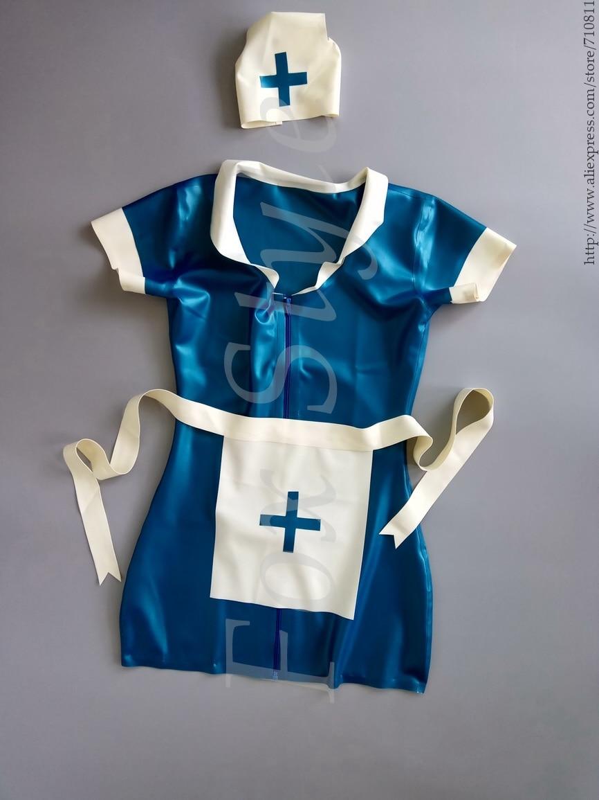 Latex Rubber Night Nurse Dress, Cap & Apron rubber latex uniform