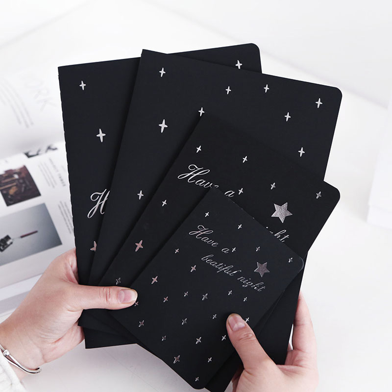 Black Sketchbook Diary for Drawing Painting Graffiti Soft Cover Black Paper Sketch Book Notebook Office School Supplies Gift