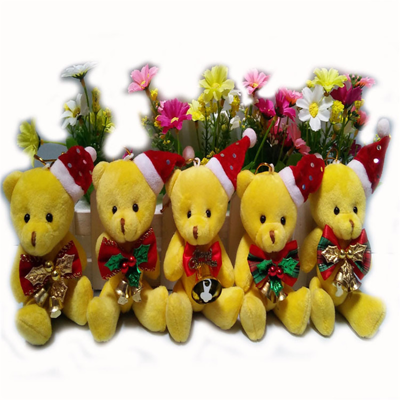 12cm 20pcs Small Joint Bear Plush Toys Cute Christmas Bear Peluche Dolls DIY Xmas Tree Home Flower Bouquet Decor Gift