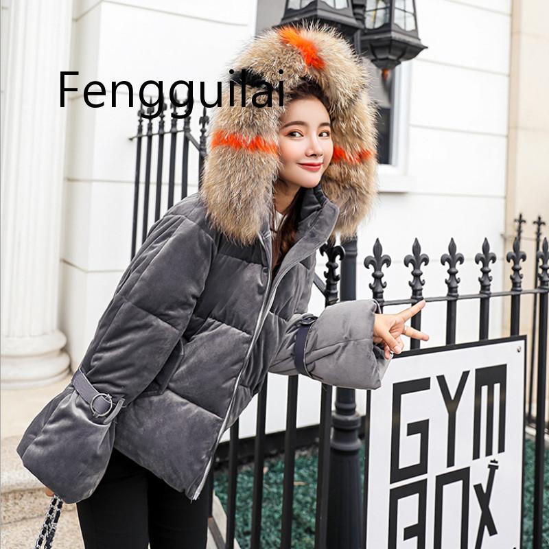 2019 Korean Simple Winter Big Fur Collar Coat Women Thick Warm Cotton Padded Parkas Gold velvet Winter Jacket Winter Collection in Parkas from Women 39 s Clothing
