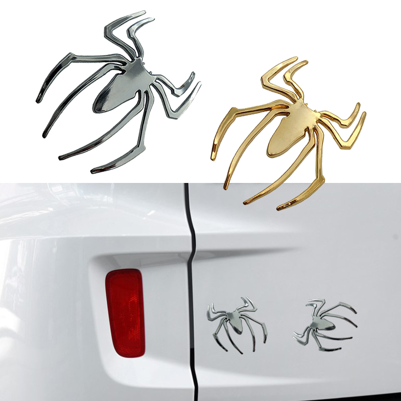 Auto Car Stickers 3D Car Stickers Universal Metal Spider Shape Emblem Chrome 3D Car Truck Motor Decal Sticker DIY Car Styling