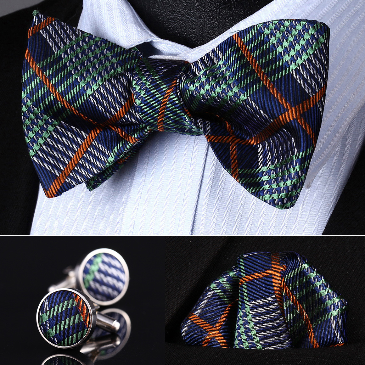 B25 Golden Brown Paisley Men Wedding Party Bowtie Set Cufflinks Handkerchief