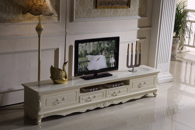 Weiss Holz Tv Stander Schublade Marmor Top Made In China Wohnzimmer