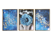 Vintage Framed Mirrors Painting Wall Picture with Plexiglass Retro Flower Living Room Poster Home Decoration Hallway Nodic Quote