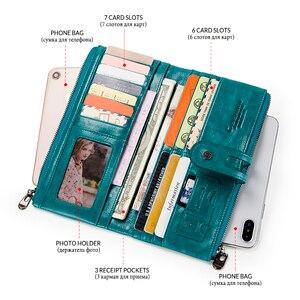 Image 4 - Kontakt z prawdziwej skóry kobiet portfel kobiet monety kiesy długi Walet Zipper cartera mujer etui na telefon portfel damski portfel na karty
