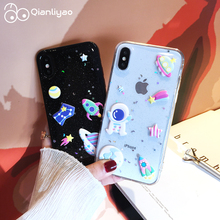 Qianliyao 3D Space Moon Glitter Phone Case for iphone XS MAX XR 7 8 plus Cases For iPhone X 6S 6 Soft TPU Back Cover