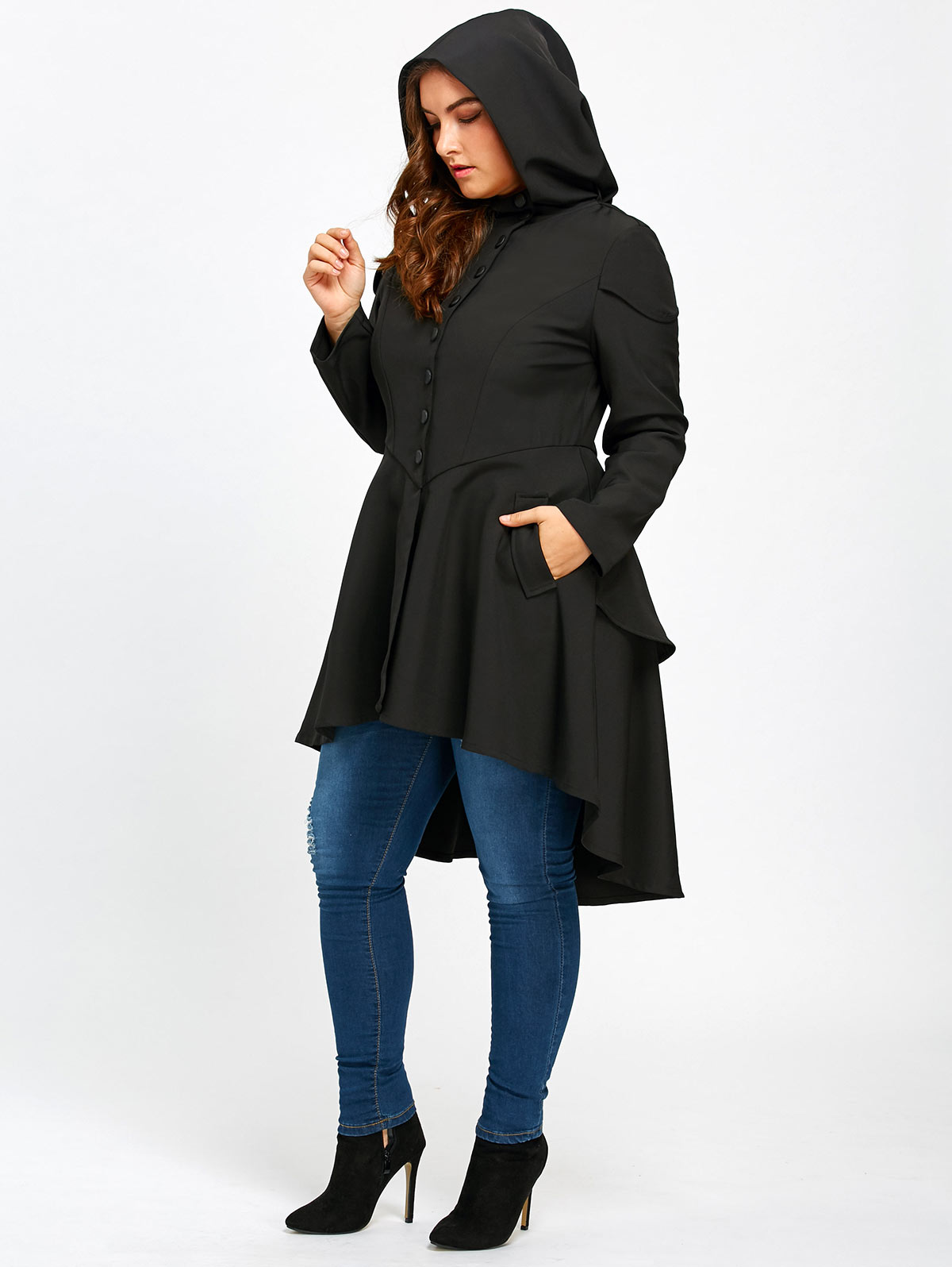 Gamiss Trendy Plus Size Lace Up High Low Hooded Coat Female Halloween Outwear Autumn Coat Women Layered Gothic High Waist Coats