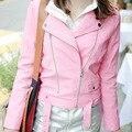 Wfst nuevo 2016 mujeres de la chaqueta de cuero otoño rosa corto motocicleta delgada de la pu de cuero de gamuza con flecos chaqueta abrigos con cinturón mf5136