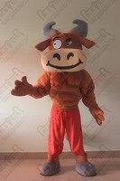Забавный мышцы быка талисмана коричневый бык костюмы мультфильм коричневый качества крупного рогатого скота талисман костюмы