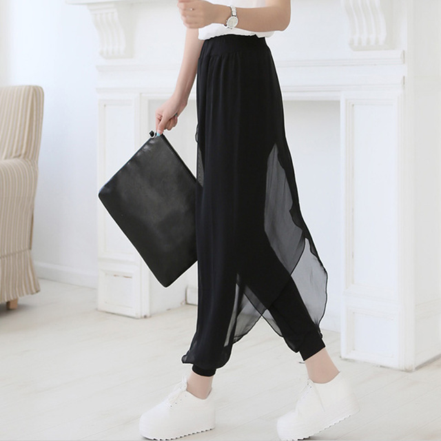 summer 2017 fashion ladies casual loose chiffon harem pants women pants black pantalon femme plus size hot sale sarouel femme