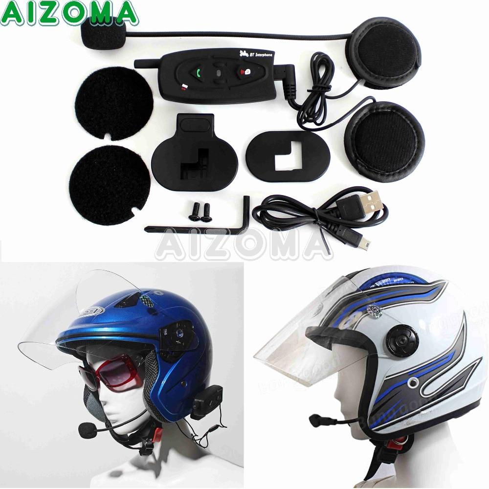 цена на Motorcycle 500M Wireless Bluetooth Helmet Headset Intercom Universal Waterproof Interphone Riders Handsfree Headphone