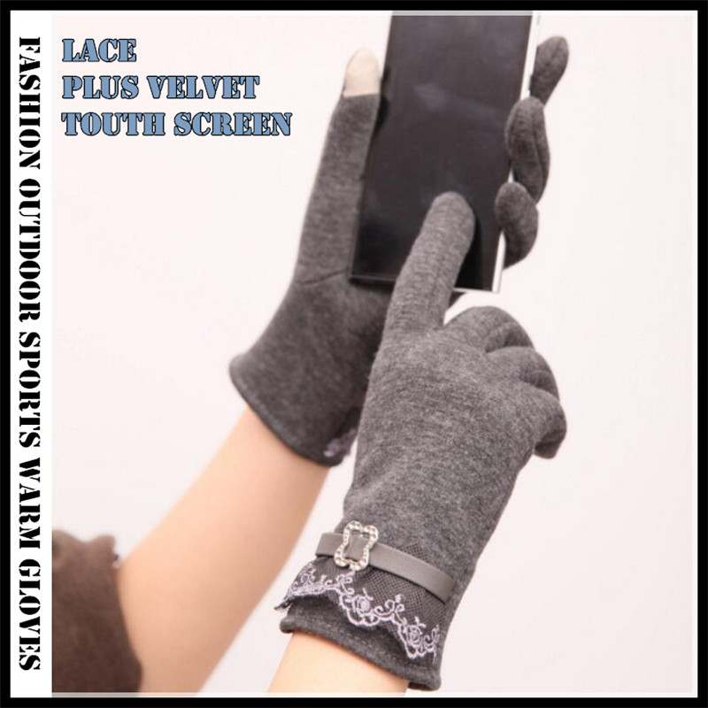 240p!Women Winter  Runing 2-Finger Touch Screen Gloves Jogging Cycling,Plus Velvet Lace Pure Cotton Leather Buckle Design