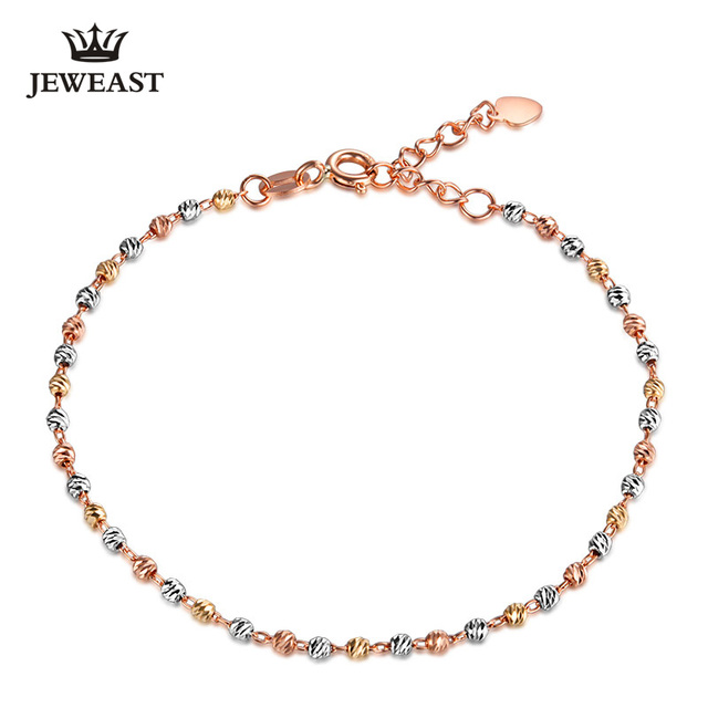 2017 New 18K Pure Gold Bracelet Au750 Gold Bangle White Gold Multicolor Fashion Classic Lucky Bead Woman Girl Hot Selling