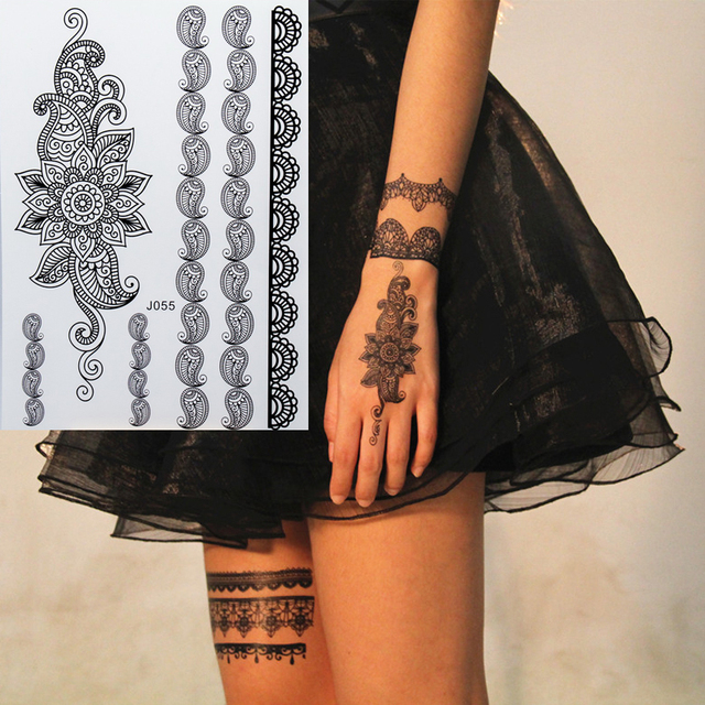 43f4b6ee5 1pc new black henna tattoo fake lace flash Arabic Indian Mandala rose  butterfly wedding for bride art body painting hand arm hot