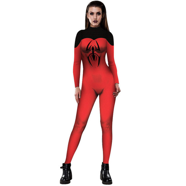 Spiderman Cosplay Costumes Adults Womens Zentai Fullbody Suit Halloween Anime Game Costume Fitness Female Zentai Lady