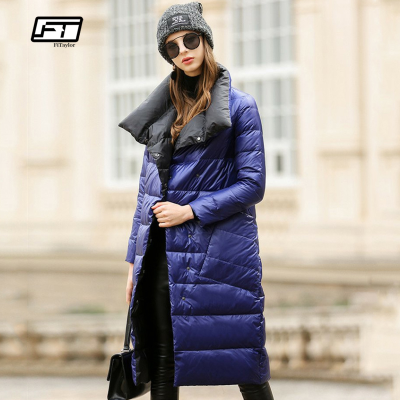 Fitaylor Women   Down   Jacket Long   Coat   Winter Warm Double Sided Ultra Light White Duck   Down   Parka Female Plus Size Snow Outwear