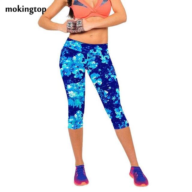 Mokingtop леггинсы summer женщины высокой талией упругие фитнес женщины брюки отпечатано стретч леггинсы calzas mujer леггинсы #3546