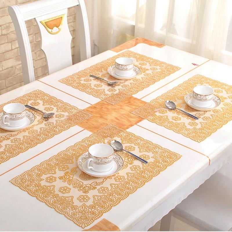 6pcs High Quality Bronzing PVC Placemat Dining Tables Mats