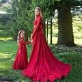 Laço vermelho Vestidos Da Menina de Flor com Mangas Compridas Lindo Pageant Vestidos para Meninas Crianças vestido de Comunhão Vestido de Festa Barato