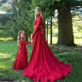 Red Lace Flower Girl Dresses with Long Sleeves Lovely Pageant Dresses for Girls Communion gown Children Party Dress Cheap
