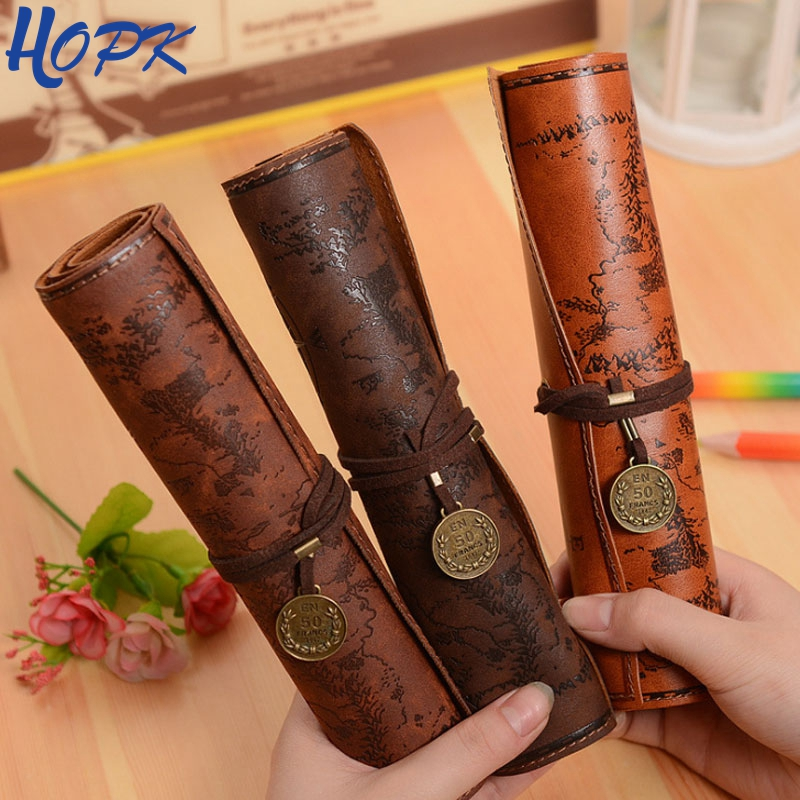 Vintage Retro Treasure Map Pencil Cases For Boy Girl School Stationery Supplies Roll Pencil Bag Pencilcase Make Up Cosmetic Bag
