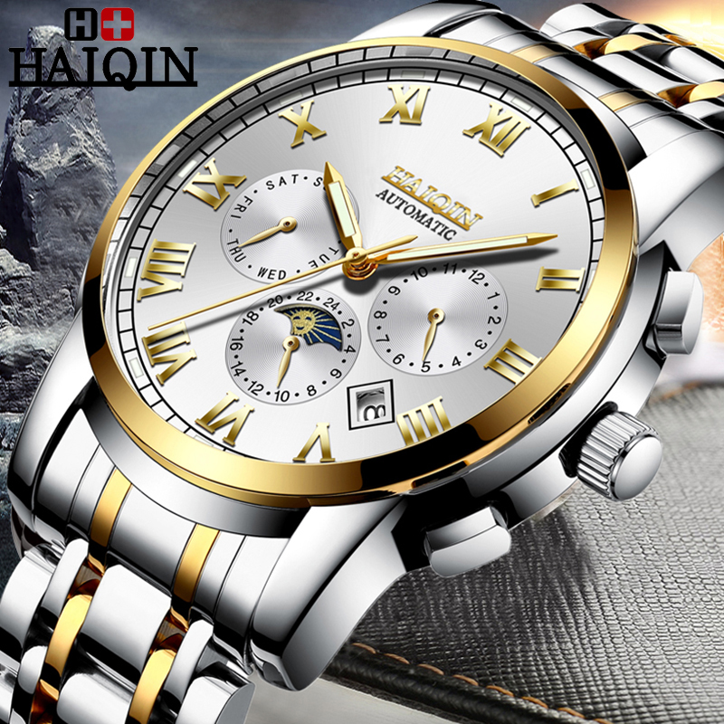 HAIQIN New Luxury Automatic Mechanical Business Watches Men Military Waterproof stainless steel Sports Clock Relogio MasculinoHAIQIN New Luxury Automatic Mechanical Business Watches Men Military Waterproof stainless steel Sports Clock Relogio Masculino
