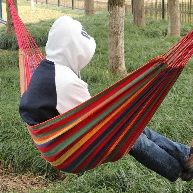 Bon New Arrival Huge Single Cotton Fabric Hammock Portable Camping Air Chair  Outdoor Sport Hmoe Travel Garden