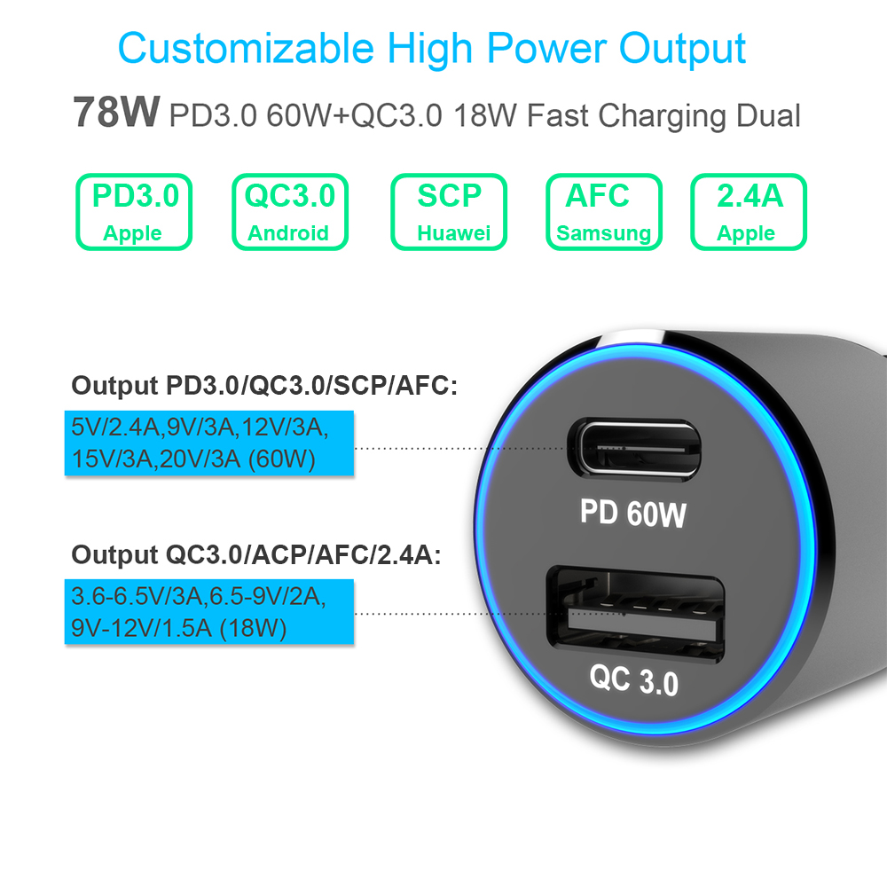 Image 4 - 2port 78W Car Charger,TYPE C PD 60W USB C power adapter Super Speed,Fast Charge QC3.0 18W for Macbook iPhone s9 s10 p30 xiaomi-in Car Chargers from Cellphones & Telecommunications