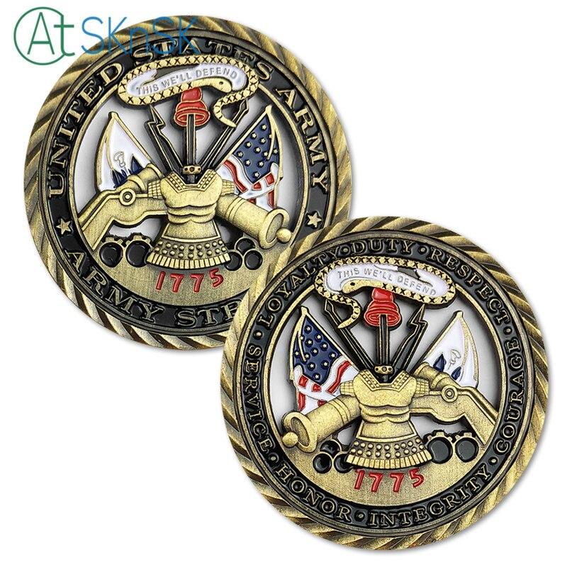 50/100 pcs armée américaine valeurs de base défi pièce militaire soldat unité médaillon découpe forte 1775 armée pièces de collection cadeau