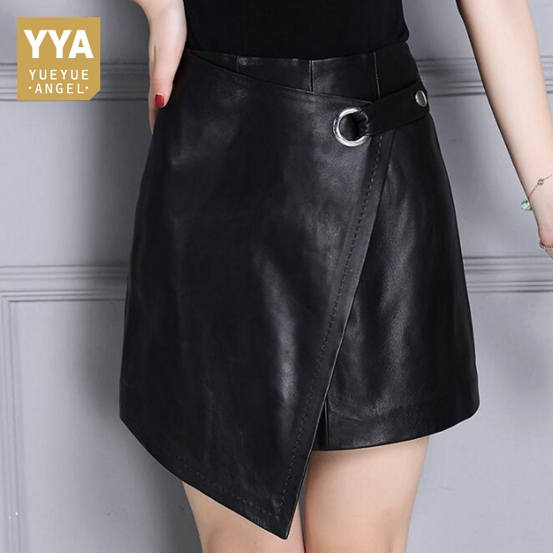 Personalized A-Line Wrap Skirt Women Zipper Irregular Black High Waist Mini Skirt Female Streetwear Sheepskin Real Leather Skirt bcbgeneration women s faux wrap skirt