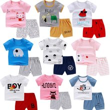 Chivry 100% Cotton Kids Boys Sets Summer Cartoon Print Short Sleeve O-Neck Cute T-Shirt Tops with Shorts Baby Girls Clothes