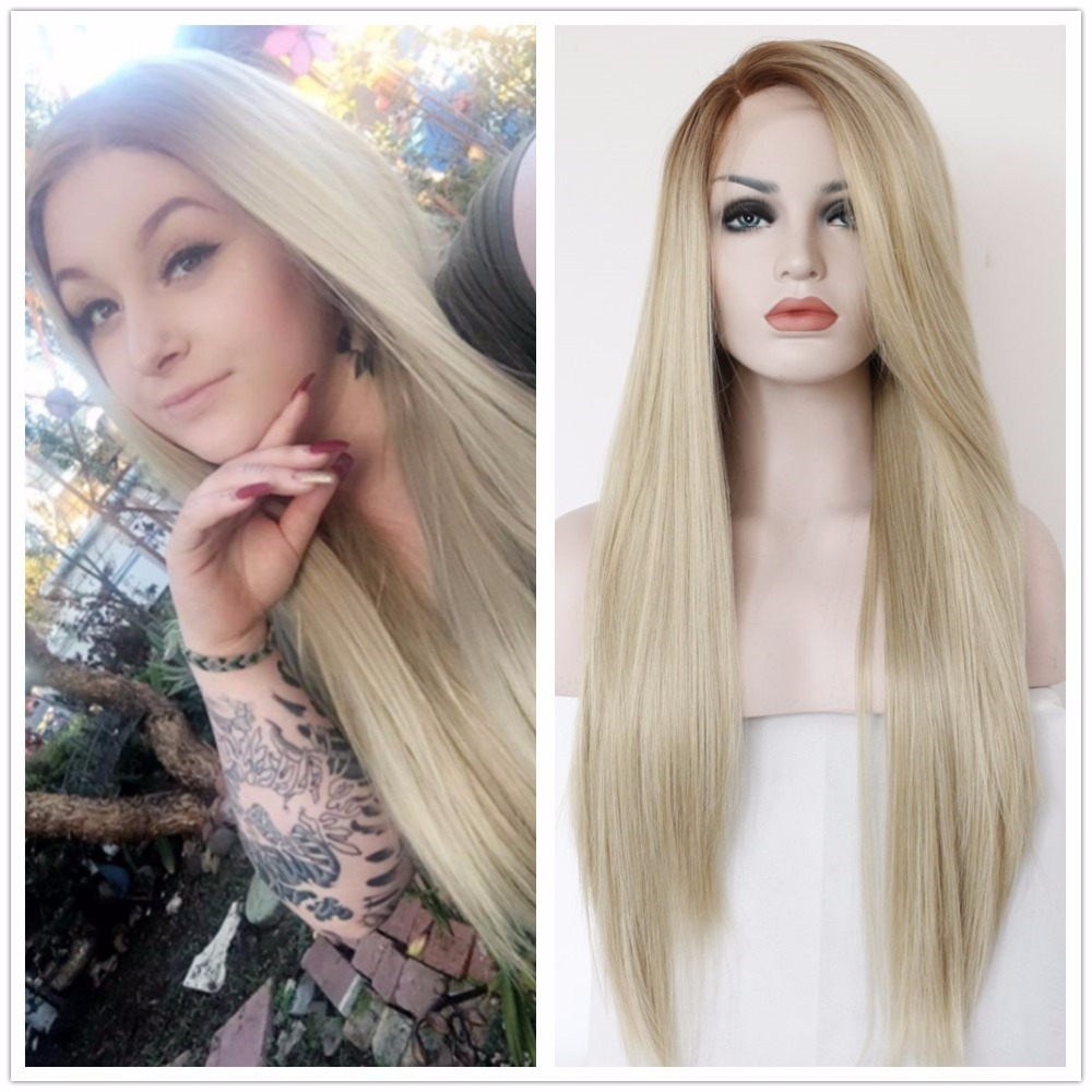 BeautyTown Hand Tied Heat Resistant Hair Brown Ombre Blonde Color White Women Daily Makeup Synthetic Lace