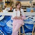 Nueva moda mujer pijama de algodón ropa de dormir de encaje pijama ropa de dormir a cuadros de color rosa princesa pijama lindo otoño femenino de salón del sueño