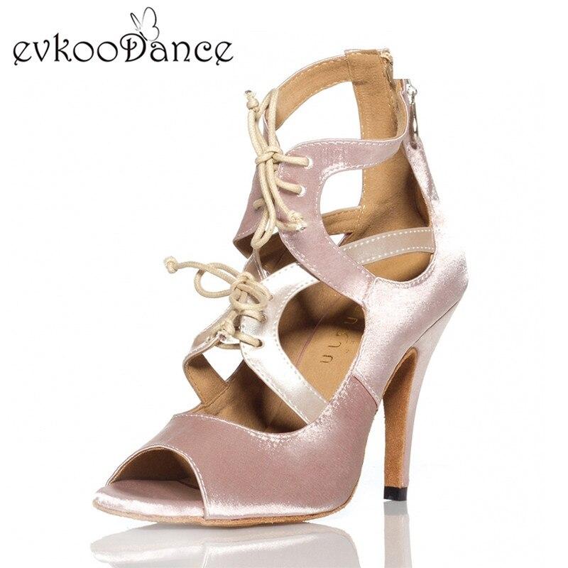 Zapatos De Baile Heel Height 8.5 cm Khaki And Silver Salsa Shoes Size US 4-12 Comfortable Women Latin Satin Dance Shoes NL132Zapatos De Baile Heel Height 8.5 cm Khaki And Silver Salsa Shoes Size US 4-12 Comfortable Women Latin Satin Dance Shoes NL132