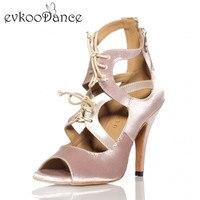 Zapatos De Baile Heel Height 8.5 cm Khaki And Silver Salsa Shoes Size US 4 12 Comfortable Women Latin Satin Dance Shoes NL132