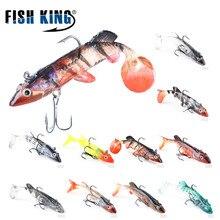 FISH KING 5pcs/lot 9g 8cm Soft Lure Artificial Bait Luminous Lead Fishing Jig Wobblers Fishing Lure Sea Fishing Tackle