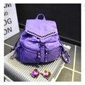 2016 fashion washed leather backpack all-match rivet Backpacks travel bag Women Backpacks